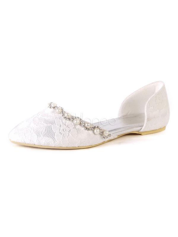 Satin Wedding Shoes White Round Toe Rhinestones Pearls Flat Bridal Shoes
