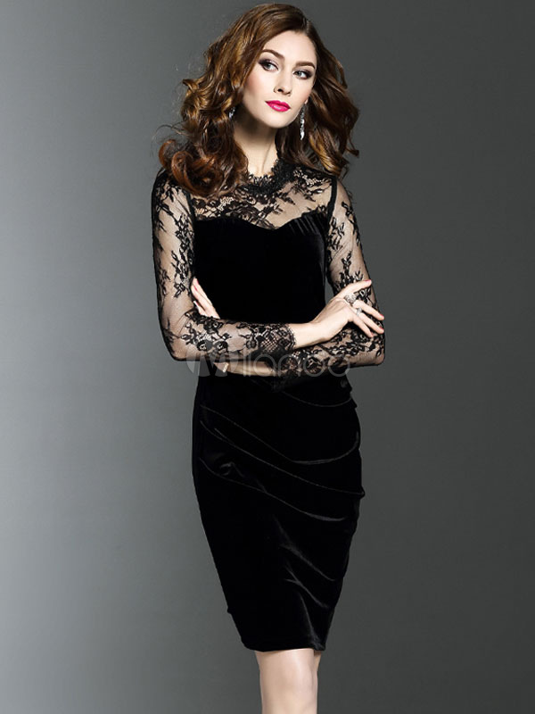 Buy Velour Bodycon Dress Lace Patch Semi Sheer Long Sleeve Women's Elegant Sheath Dress for $28.49 in Milanoo store