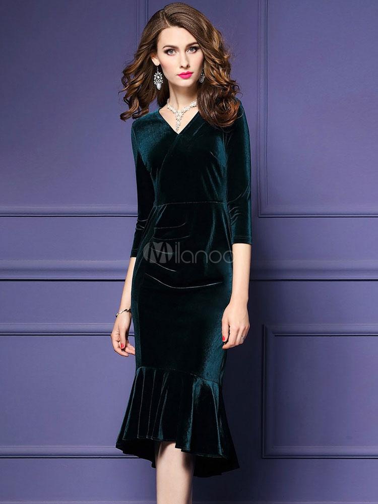 Encantador Vestidos De Dama Verde Azulado Verde Regalo - Vestido de ...