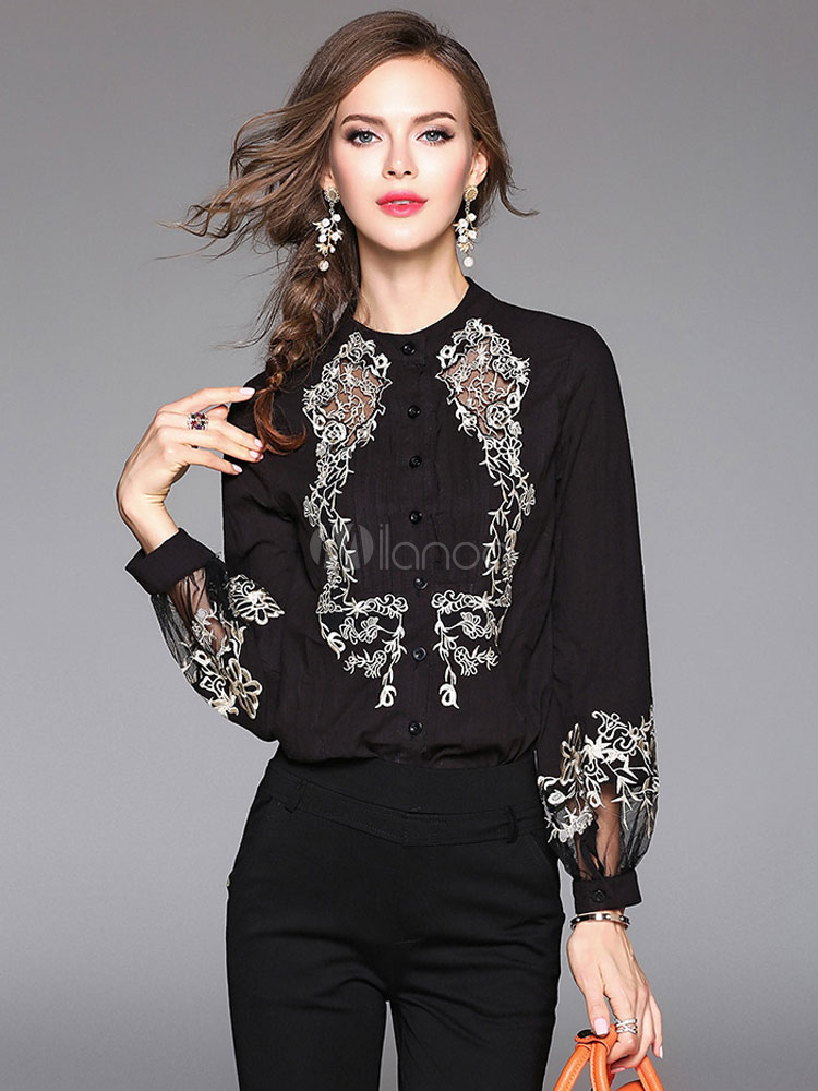 Women's Black Blouse Stand Collar Long Sleeve Embroidered Cotton Top Cheap clothes, free shipping worldwide