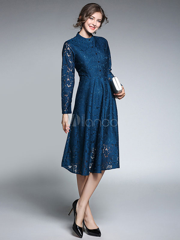 Buy Lace Skater Dress Crewneck Long Illusion Sleeve Buttons Pleated Shaping Women's Blue Flare Dress for $53.99 in Milanoo store