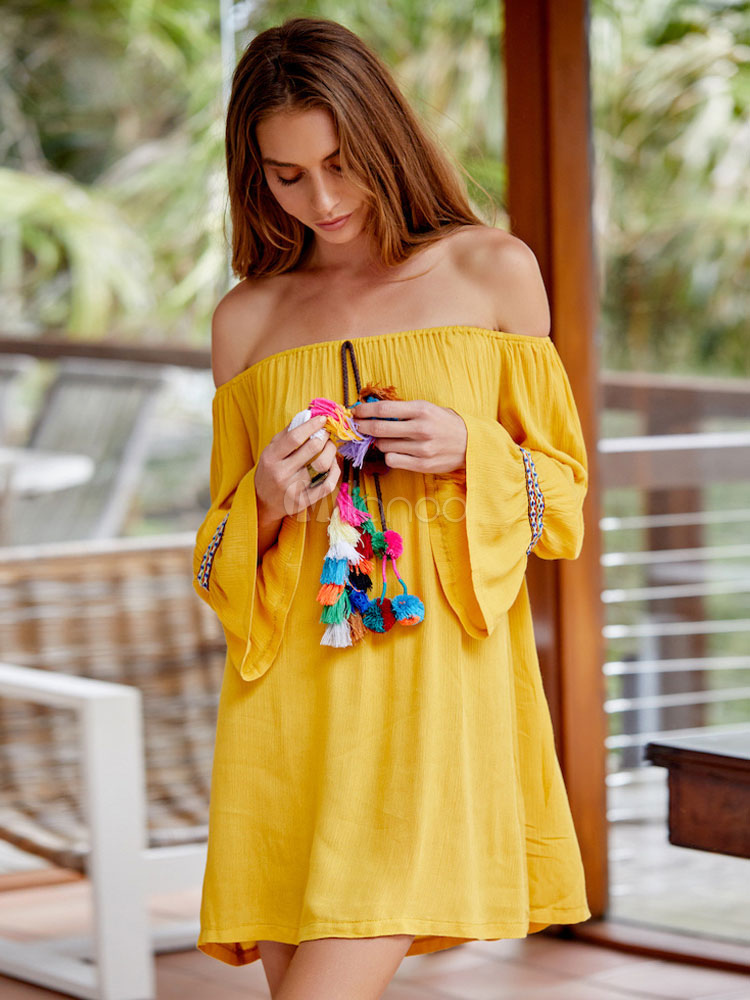 Buy Ethnic Shift Dress Off The Shoulder Tassels Flare Sleeve Pleated Yellow Dress for $28.49 in Milanoo store