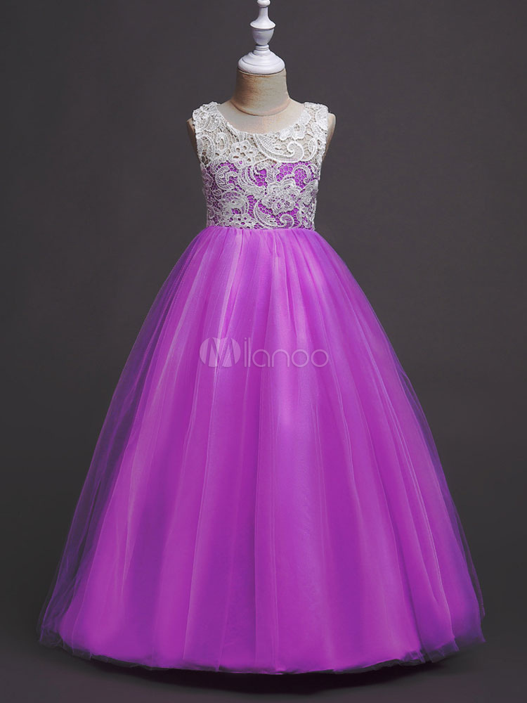 Vestido de niña para boda 2018 de florista barato con escote redondo ...