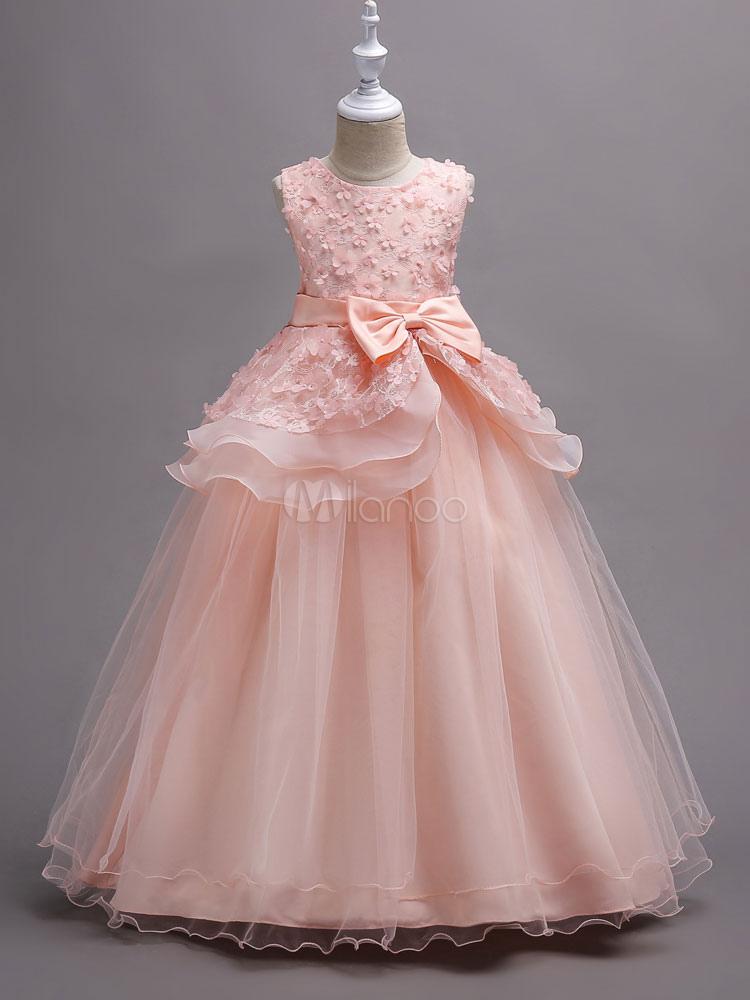 648b789c66e4a フラワーガールドレス 安い子供ドレス プリンセスライン ノースリーブ ラウンドネック くるぶし ...