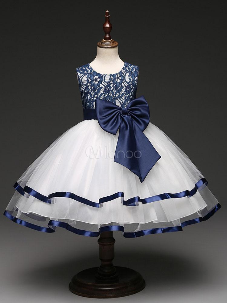 Flower Girl Dresses Lace Tulle Round Neck Sleeveless Princess Tutu Dress Dark Navy Bows Ankle Length Dinner Party Dresses