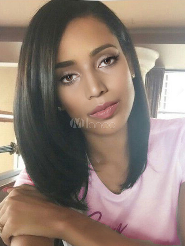 Black Straight Wigs Women's Side Parting End Curls Layered Shoulder Length Wigs