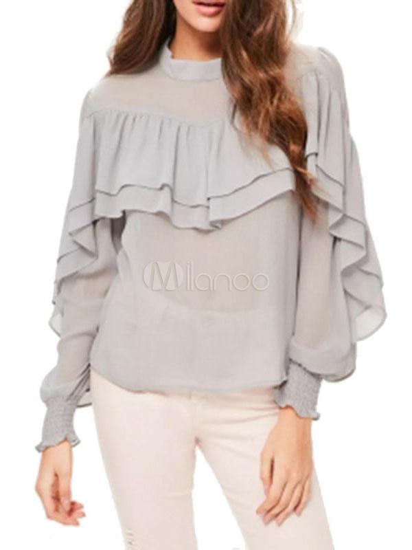 Buy Grey Chiffon Blouses Long Sleeve Crew Neck Ruffles Layered Women's Top for $18.99 in Milanoo store