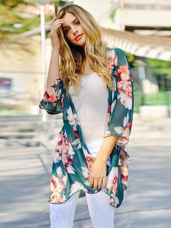 Teal Chiffon Cardigan Long Sleeve Floral Print Women's Cardigans