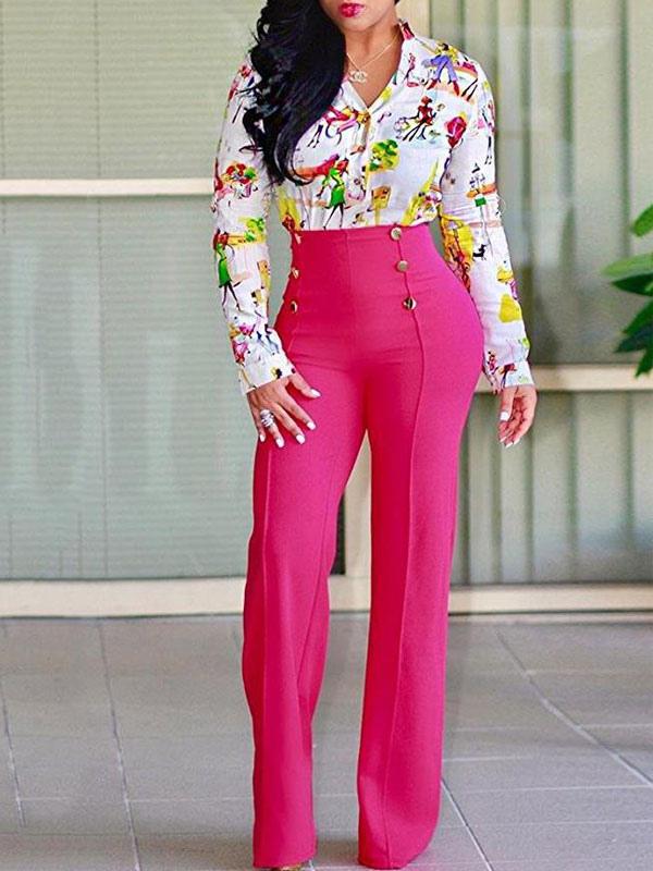 Pantalones Blanco Para Mujeres 2021 Pantalones Largo De Talle Alto Con Pierna Recta Milanoo Com