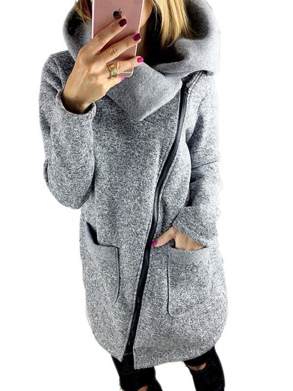 Beau manteau femme en coton mélangé gris unicolore avec poches coupe asymétrique thermique Cou original
