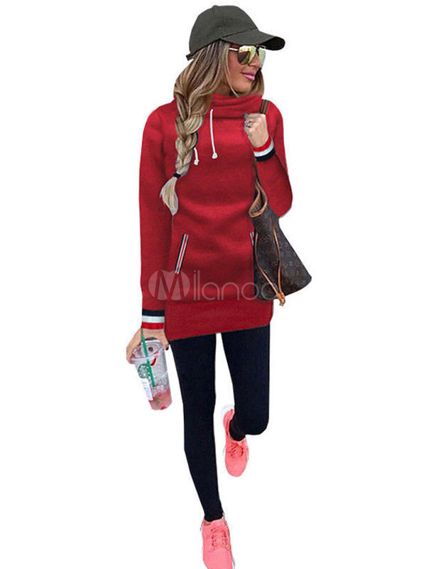 Red Hoodie Dress Hooded Long Sleeve Striped Fleece Bodycon Dresses For Women