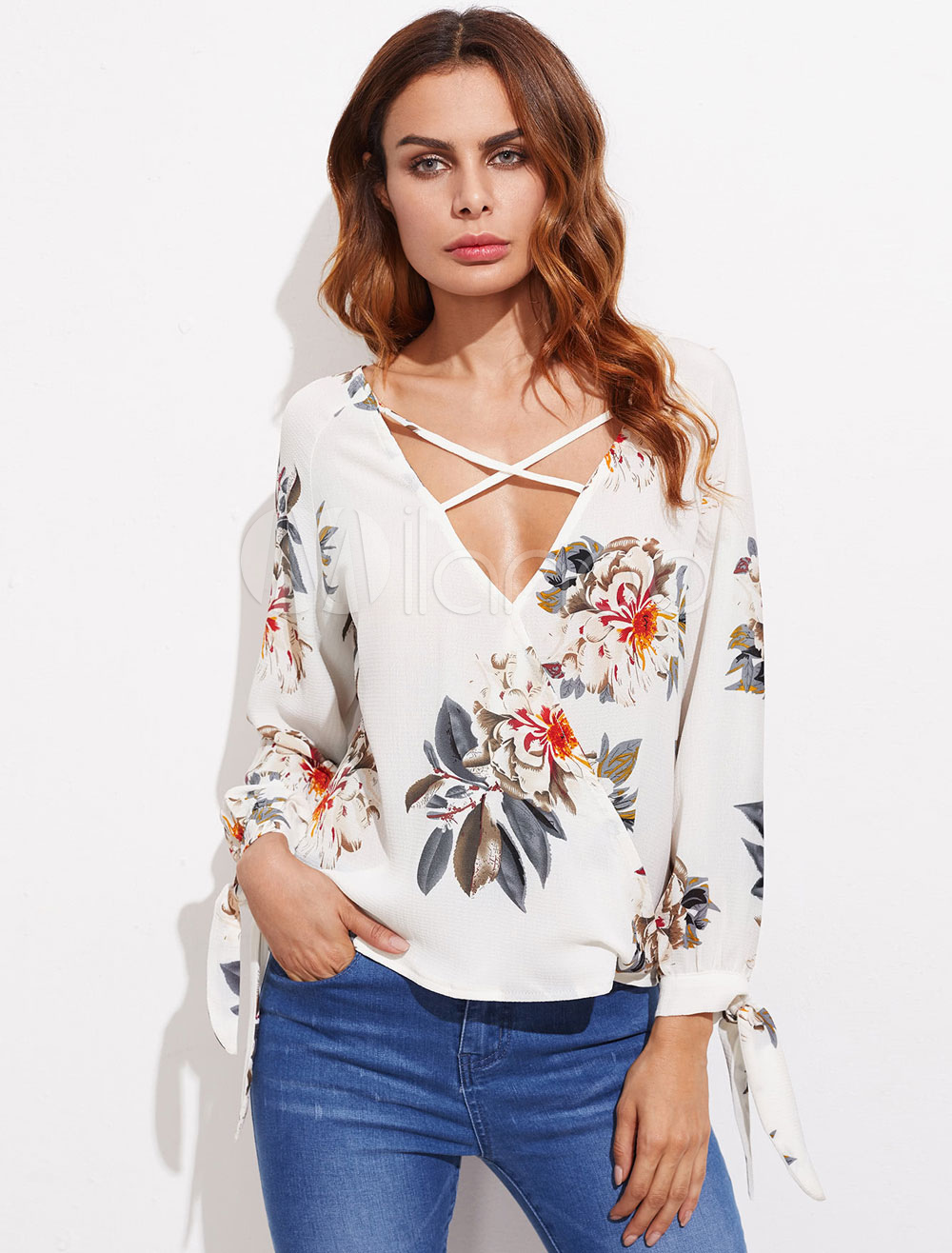 Buy White Women's Blouses V Neck Long Sleeve Criss Cross Floral Print Top for $18.99 in Milanoo store