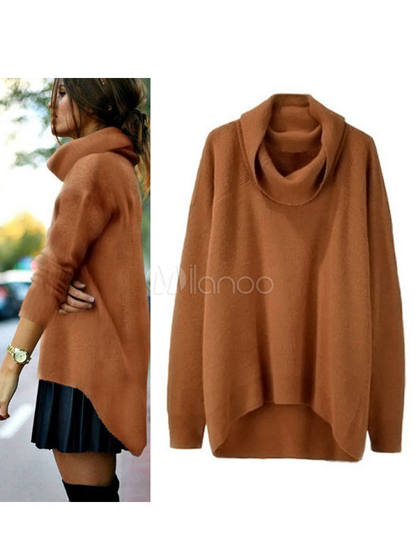 Brown Women's Sweater High Collar Long Sleeve High Low Comfy Knit Top