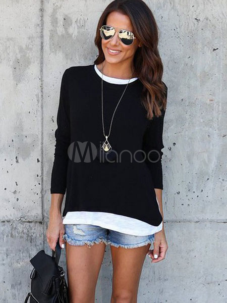 Buy Black T Shirt Round Neck Long Sleeve Two Tone Fake Two-Piece Style Women's Top for $16.79 in Milanoo store