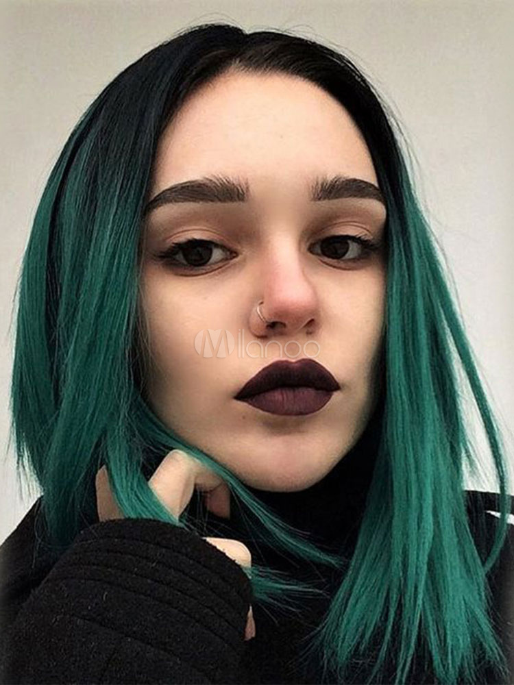 Green Women Wig Ombre Central Parting Straight Synthetic Wig Cheap clothes, free shipping worldwide