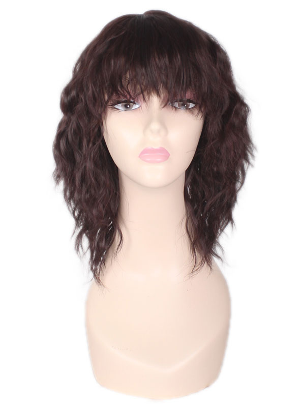 Buy Curly Synthetic Wigs Crimp Curls Tousled Short Brown Wigs With Fringes for $17.99 in Milanoo store