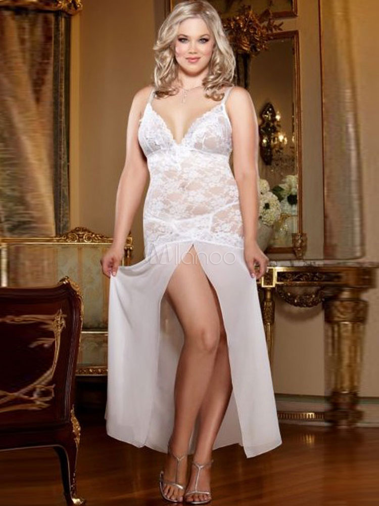 Buy White Lace Gown Split Sexy Long Robe For Women for $26.99 in Milanoo store