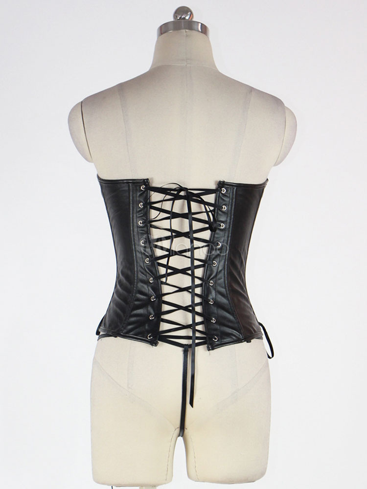 cfbb724d8 ... Black Corset Top Body Shaper Sweetheart PU Lace Up Backless Waist  Trainer-No.3 ...