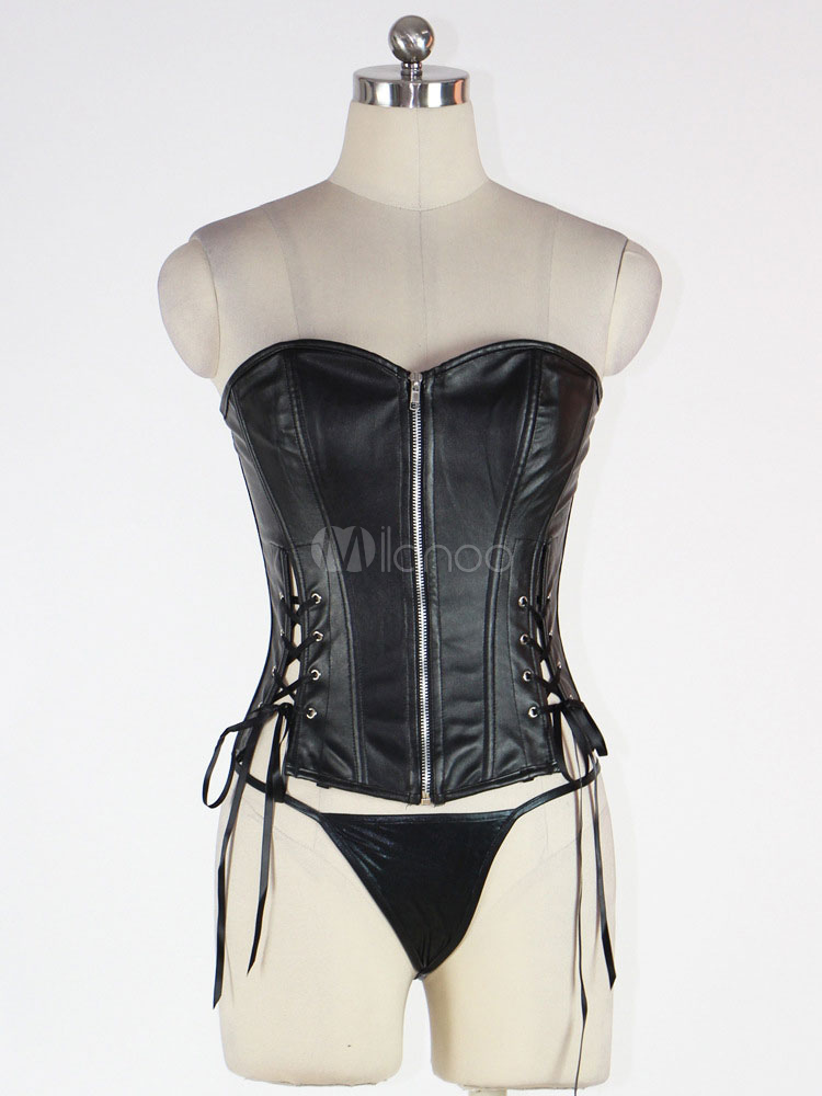 3a40c3aaa ... Black Corset Top Body Shaper Sweetheart PU Lace Up Backless Waist  Trainer-No.2 ...