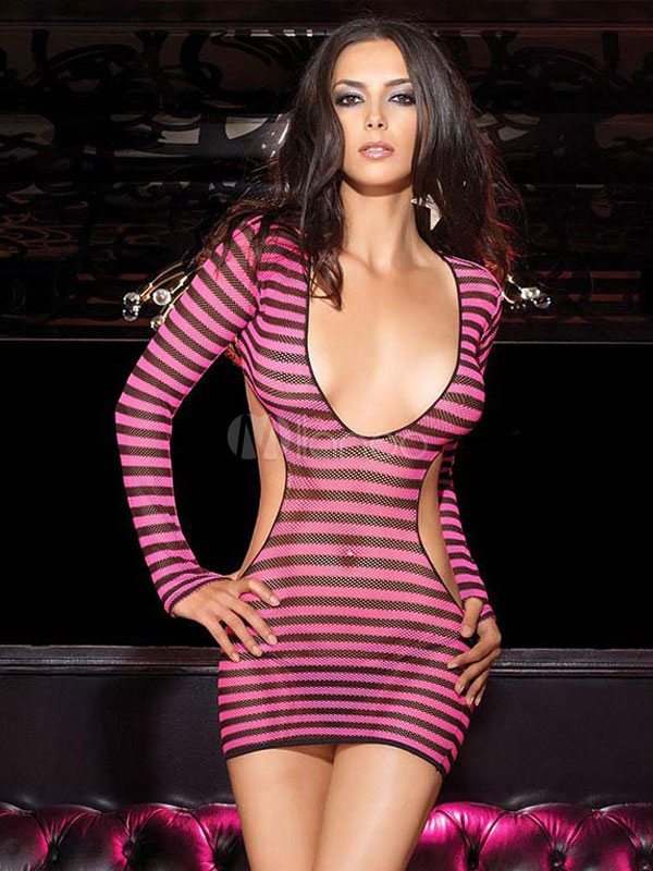 Buy Club Dresses Women Rose Plunging Neck Long Sleeve Cut Out Striped Backless Sexy Bodycon Dress for $17.99 in Milanoo store