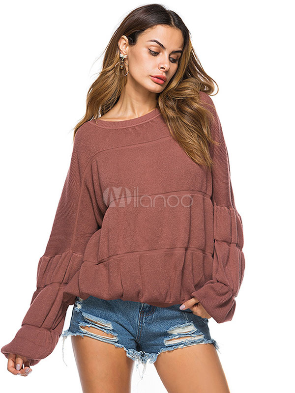 Buy Women's Pullover Sweater Cameo Pink Round Neck Long Sleeve Knit Sweater for $35.99 in Milanoo store