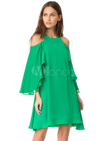 Buy Chiffon Shift Dress Cold Shoulder Round Neck Long Sleeve Layered Ruffles Pleated Green Dress for $27.59 in Milanoo store