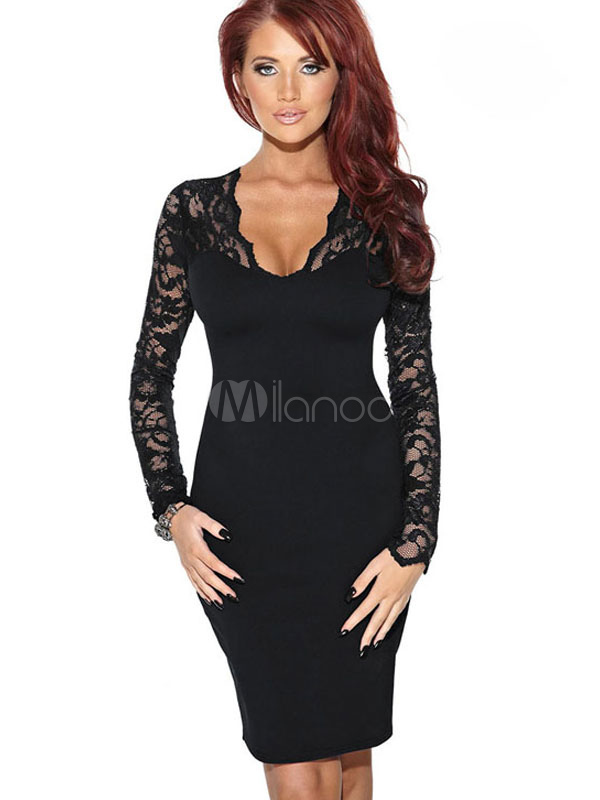 Buy Lace Bodycon Dress V Neck Long Sleeve Shaping Sexy Wrap Dress for $23.99 in Milanoo store