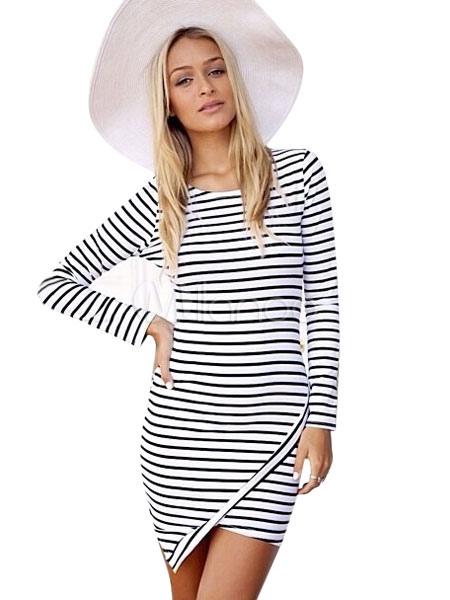 Buy White Bodycon Dress Striped Round Neck Long Sleeve Asymmetrical Design Women's Mini Wrap Dress for $18.39 in Milanoo store