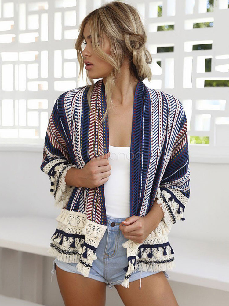 Blue Women's Cardigan Geometric Printed Fringe Lace Trim Top