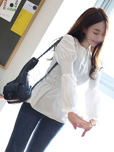 Buy White Women's Blouses Round Neck Long Sleeve Ruffles Top for $26.99 in Milanoo store