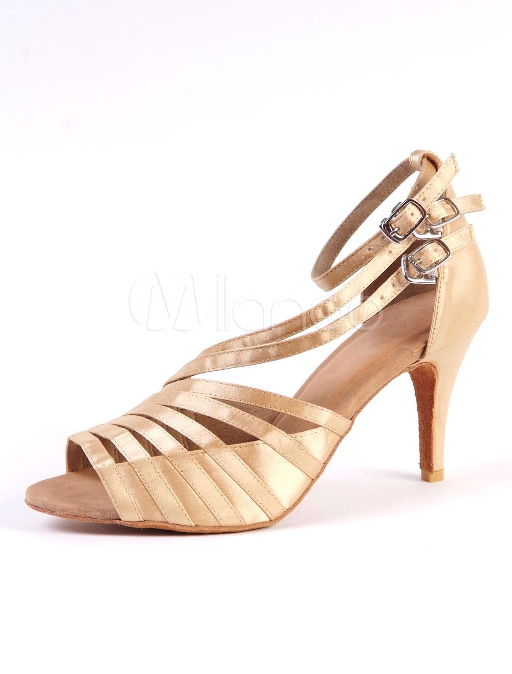 Zapatos de bailes latinos de tacón de stiletto para baile de puntera abierta qZxYI9KiSC
