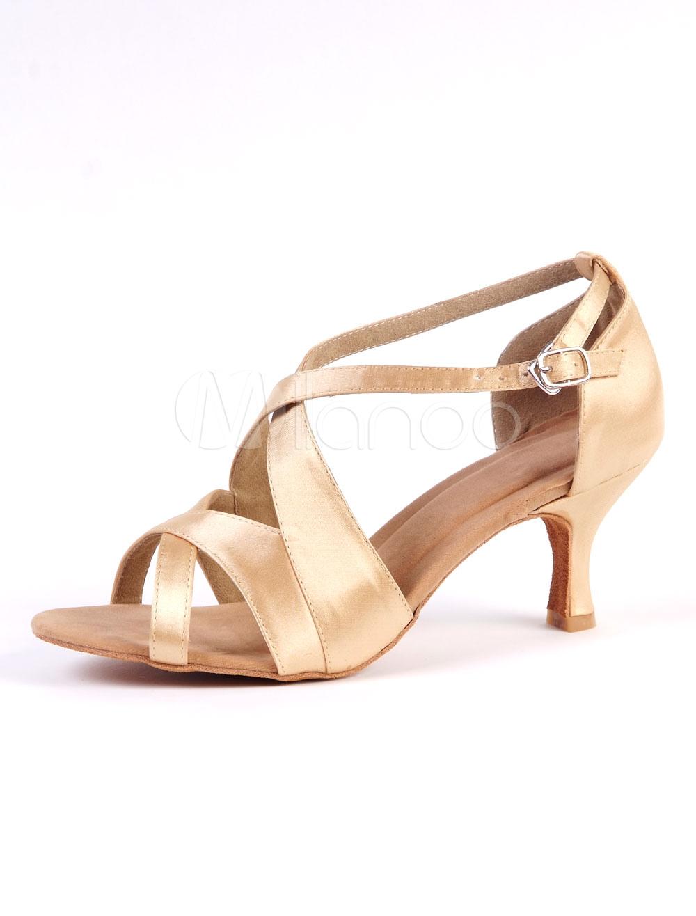 95e133ba ... Zapatos de bailes latinos de satén dorados de tacón de kitten para baile  de puntera abierta. 1. -30%. color:dorado