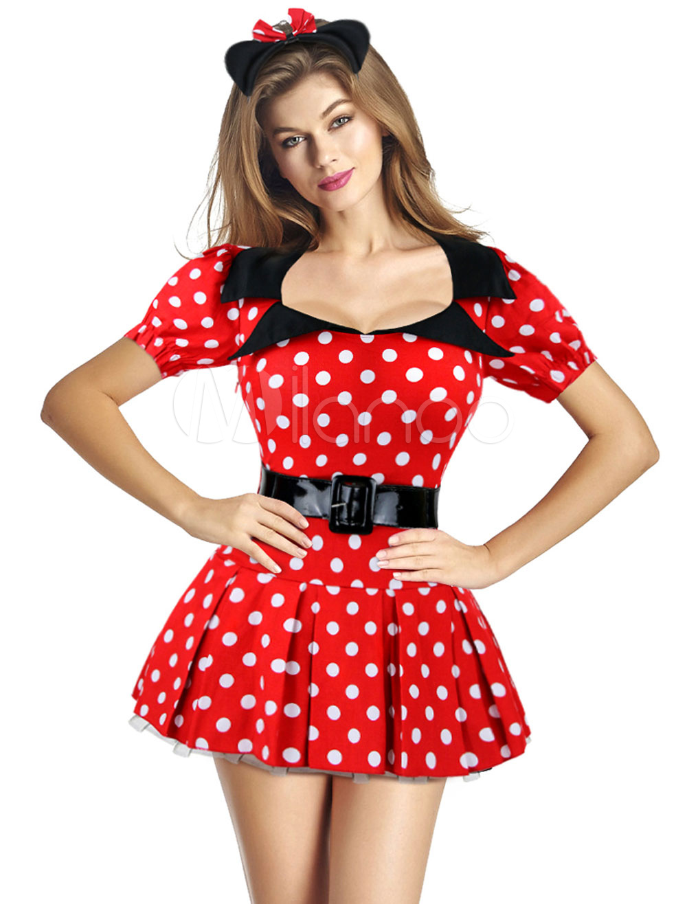 Buy Sexy Fairytale Halloween Minnie Costume Women's Red Dress With Sash And Headpieces for $22.99 in Milanoo store