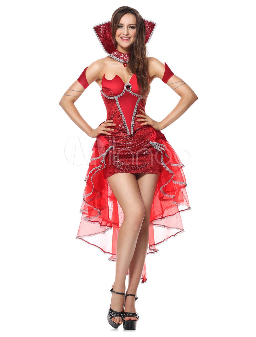 Teufel Karneval Kostum Frauen Tull Kleid Mit Choker Und Armwear In