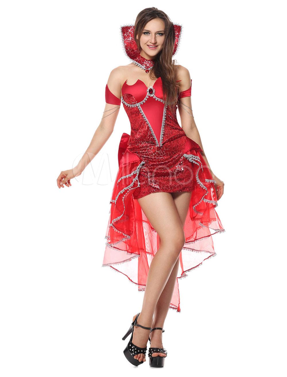 Rouge Femme Sexy En Diable Costume Pour Tulle CsQhdtr