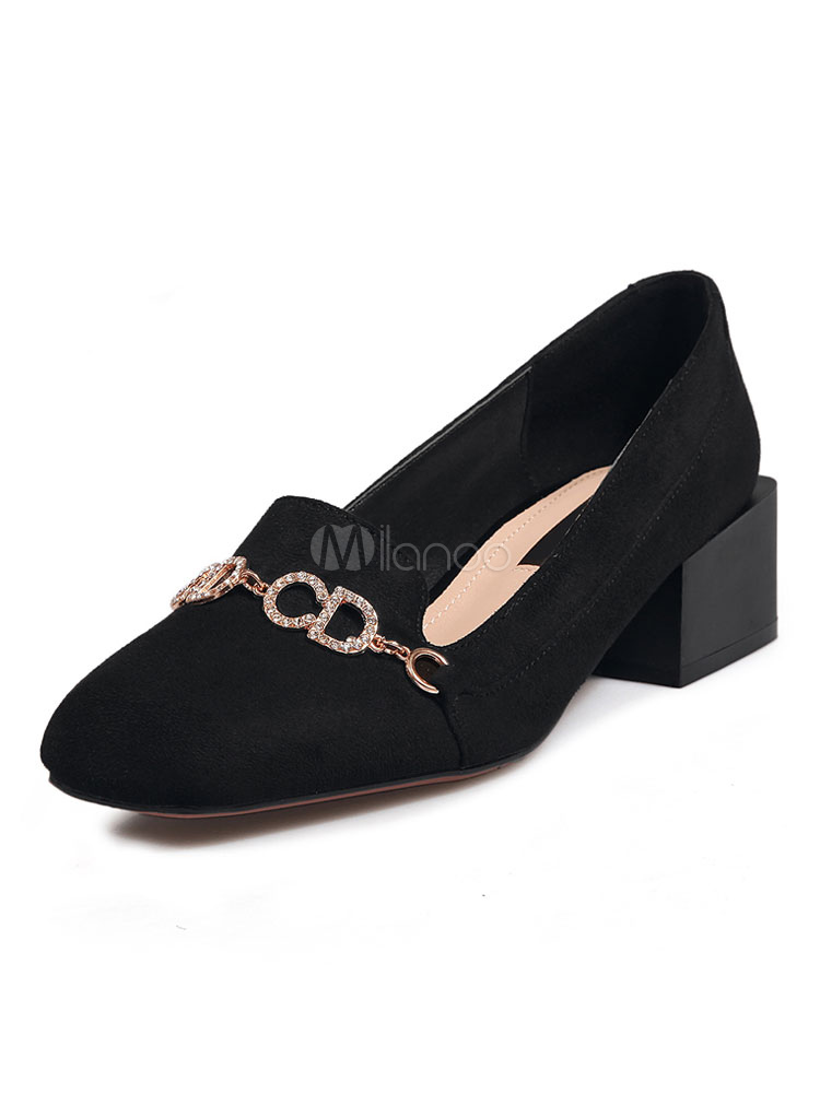 Women's Black Pumps Square Toe Rhinestones Chain Detail Slip On Shoes