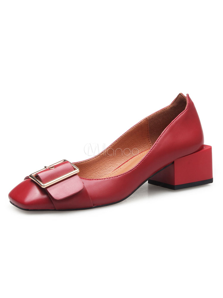 Buy Women's Red Pumps Square Toe Buckle Detail Mid Heel Slip On Shoes for $37.99 in Milanoo store