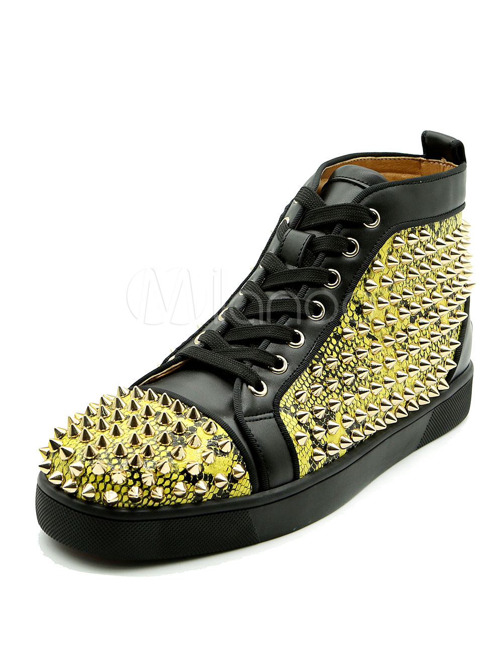Buy Gold Spike Shoes Men's Round Toe Lace Up Rivets High Top Sneakers for $94.99 in Milanoo store