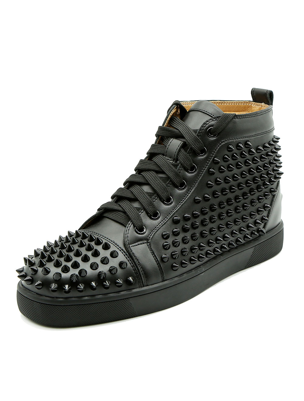 Black Skate Shoes Men's Round Toe Rivets Lace Up High Top Sneakers