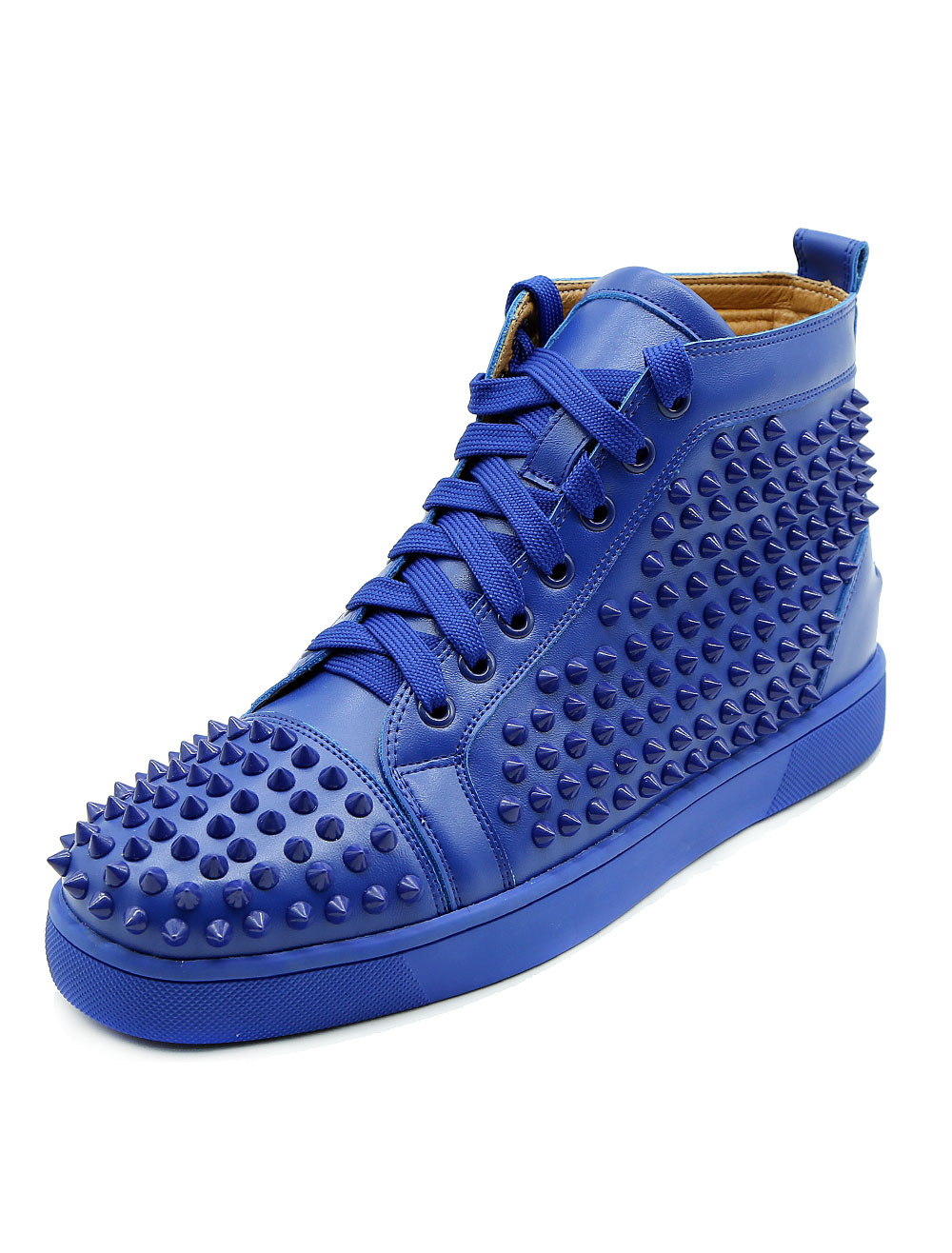 Buy Blue Skate Shoes Leather Men's Round Toe Lace Up Rivets High Top Sneakers for $79.99 in Milanoo store