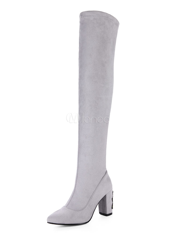 High Heel Boots Suede Grey Pointed Toe Slip On Over Knee Boots For Women