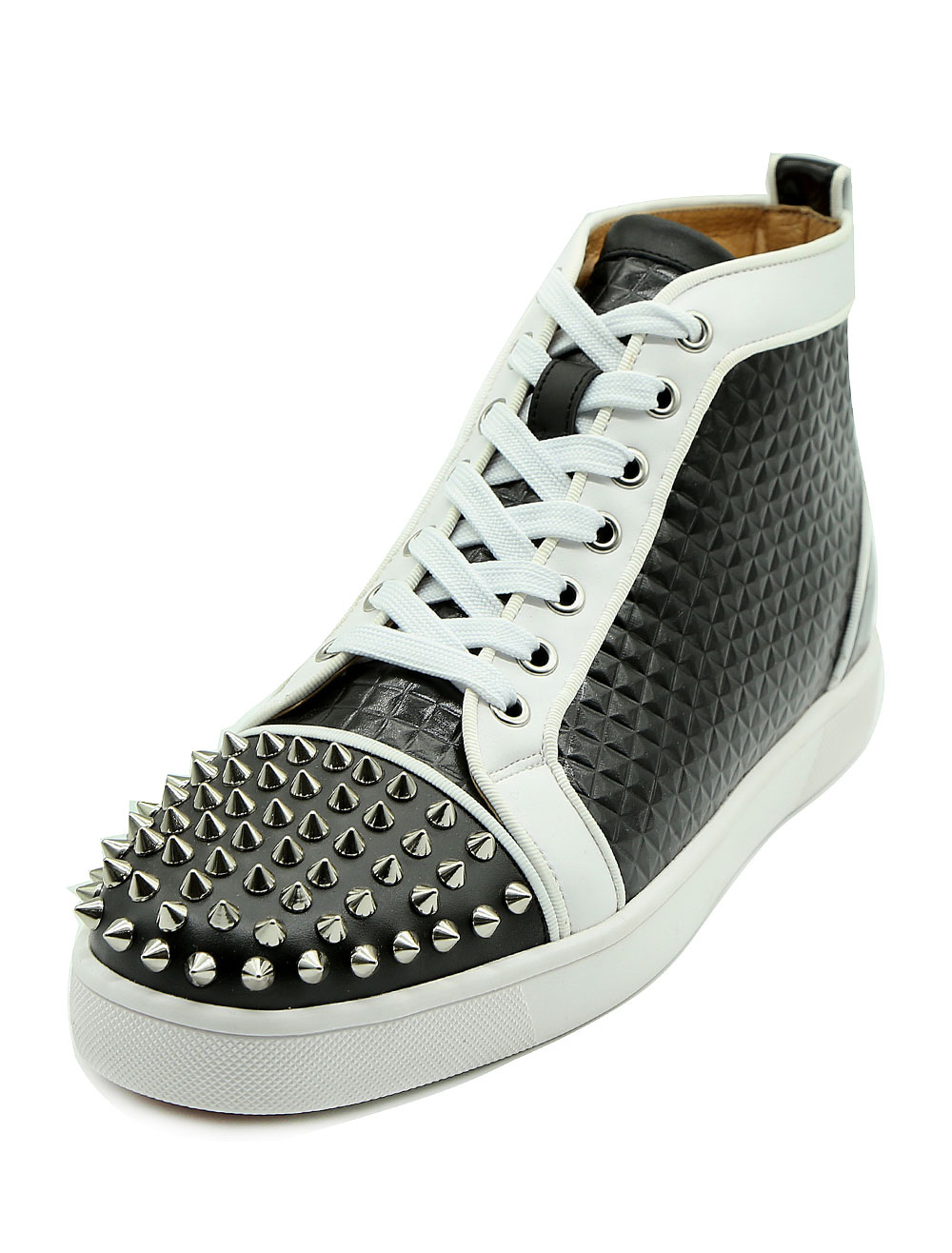 Men's White Sneakers Round Toe Lace Up Rivets High Top Sneakers