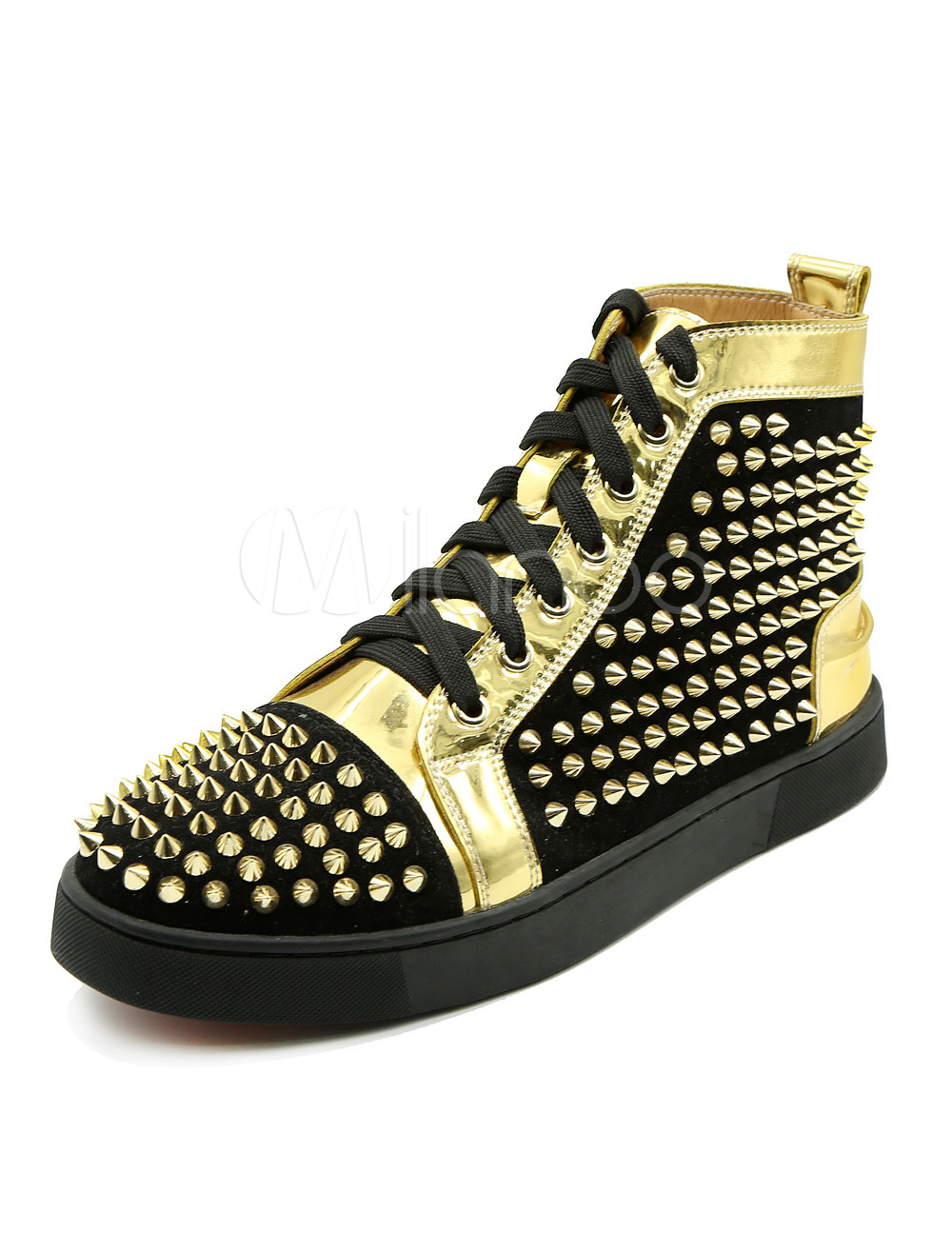 Buy Men's Black Sneakers Round Toe Lace Up Rivets High Top Skate Shoes for $94.99 in Milanoo store