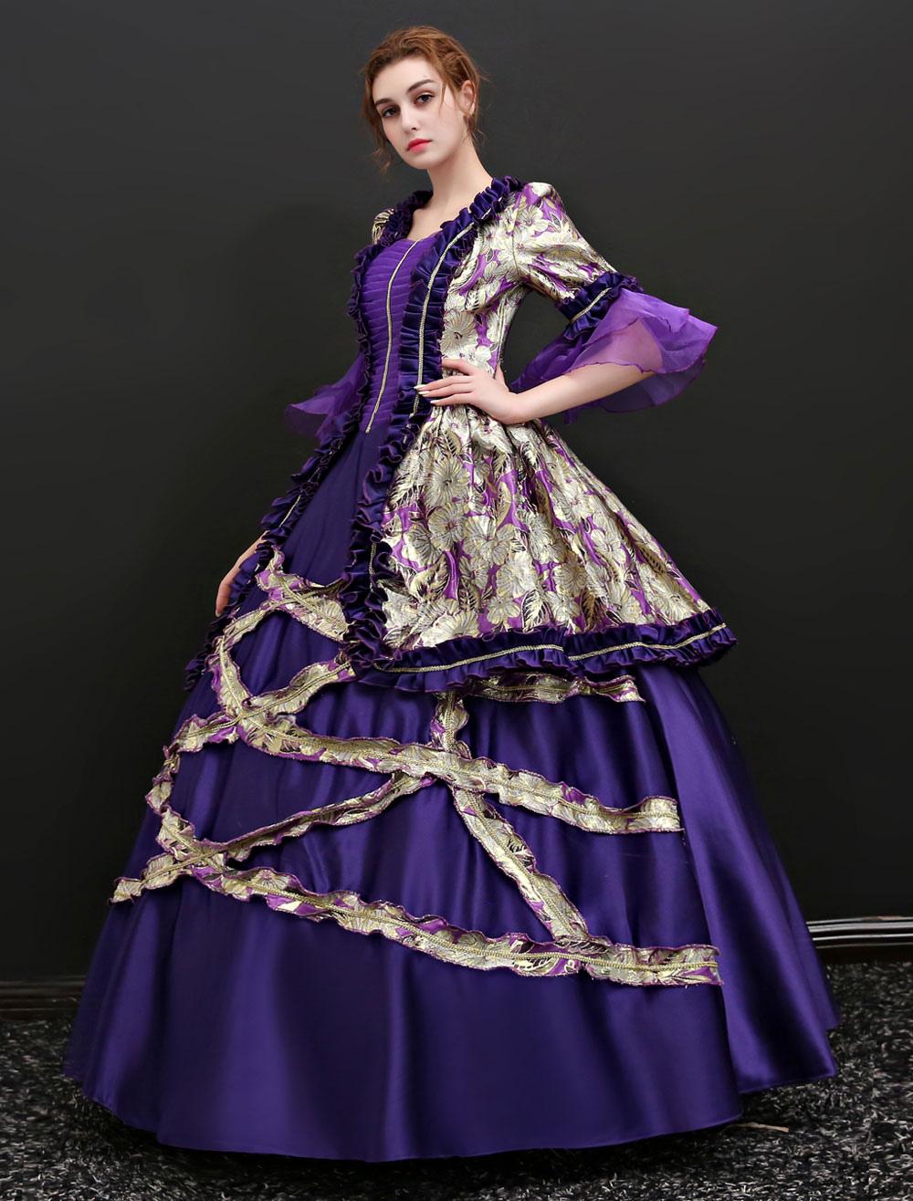 eaff71a5789f6 ... Baroque Vintage Costume Halloween Deep Purple Dress For Women-No.2 ...