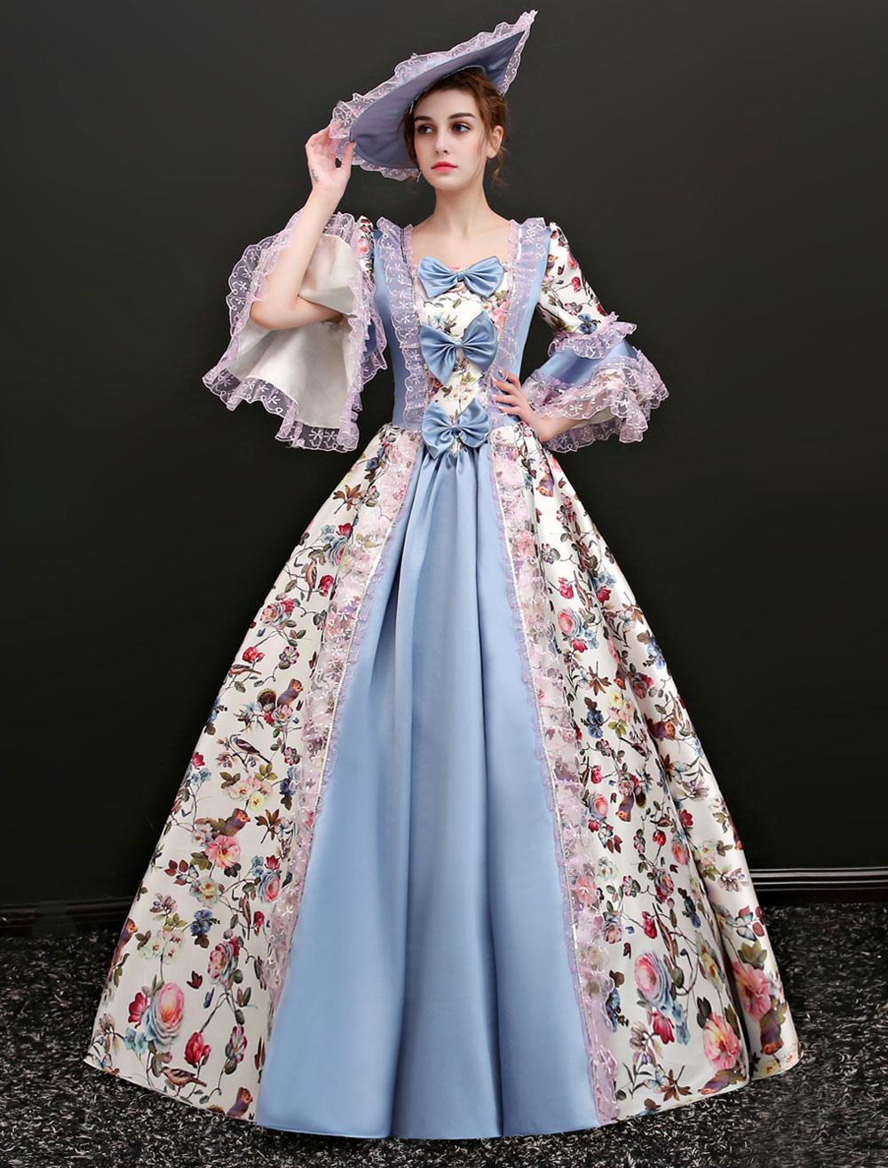 Rococo Vintage Costume Women's Illusion Blue Jacquard Long Dresses