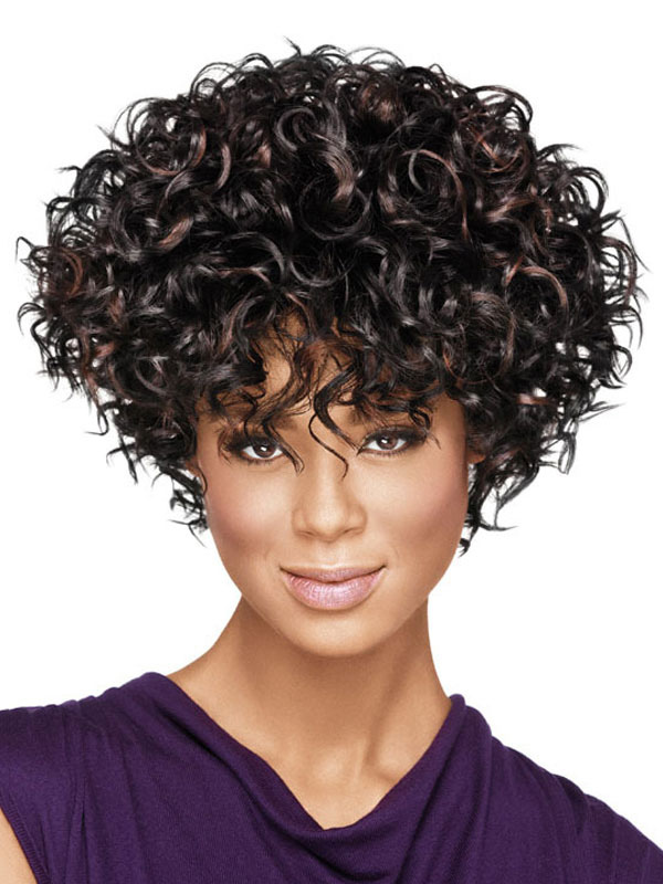 Buy Women's Short Wigs African American Deep Brown Curly Tousled Synthetic Afro Hair Wigs With Bangs for $23.99 in Milanoo store