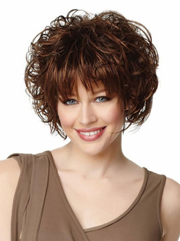 Buy Women's Short Wigs Curly Tousled Deep Brown Synthetic Afro Hair Wigs With Bangs for $16.19 in Milanoo store