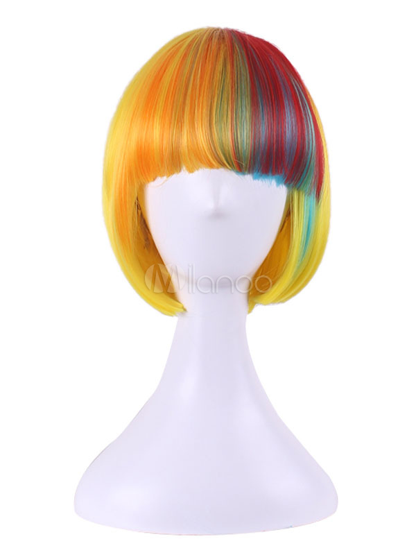 Yellow Carnival Wigs Highlighting Bob Style Layered Short Synthetic Wigs With Blunt Bangs
