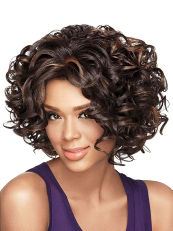 Buy Deep Brown Wigs African American Women's Short Curly Tousled Synthetic Afro Hair Wigs for $18.39 in Milanoo store