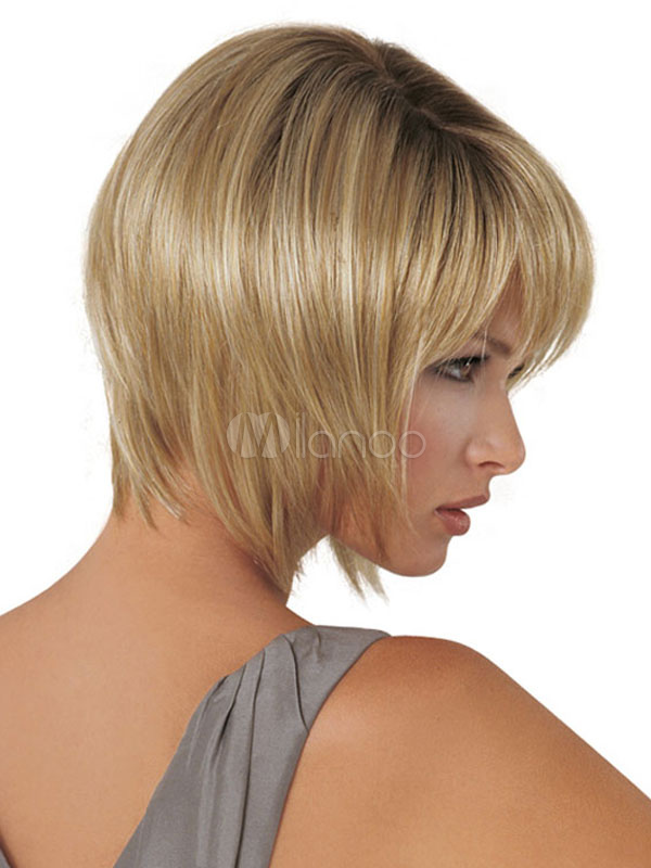 Short Blonde Wigs Pixies And Boycuts Layered Synthetic Straight Wigs